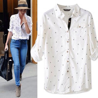 Anchor Print Long Sleeve Shirt Collar Blouse