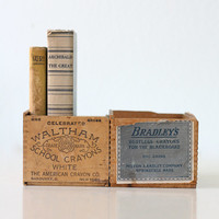 Vintage School Crayon Boxes, set of 2, Waltham and Bradley's White School Crayons / Chalk Boxes