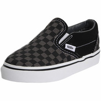Black & Pewter Checkerboard Classic Slip On Vans Shoe. Kids Vans For Boys.