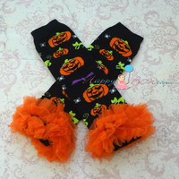Spooky Pumpkin ruffles Leg warmers, Halloween Leg Warmers, girls leg warmers, leg warmers, Chiffon Leg warmers, thanksgiving, pumpkin