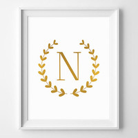 Printable N Monogram. INSTANT DOWNLOAD. Home Wall Art. Nursery decor. Digital print. Gold foil poster.