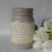 Painted Mason jar, Vase, cursive writing, Mason jar decor, wedding centerpiece, weddings, Home decor, Desk organizer.