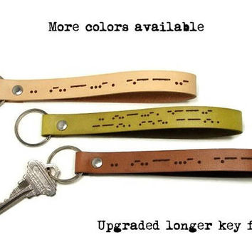 Morse Code Key Fob, Genuine Leather Key Fob, Custom Leather Keychain, European Leather Key Fob, Mens Leather Key Fob, Morse Code Keychain