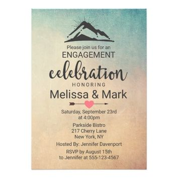 Mountain with Sunrays Engagement Party Invite