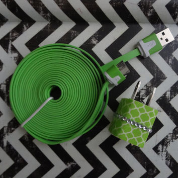 New Super Cute Lime Green & White Medallion Designed Jeweled Wall iphone 4/4s Charger + 10ft cable cord Super Long