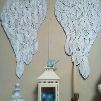 "Boutique Shabby Angel Wings mid size wall decor French chic display designs feather die cuts ""Many Blessings"" crib decor wedding flower wall"