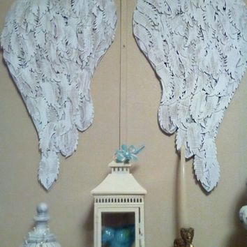 "Large Boutique Shabby Angel Wings wall decor French chic display designs feather die cuts ""Many Blessings"" crib decor"
