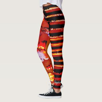 Orange and Black Stripe with Personalized Name Leggings