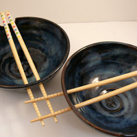 Two Ceramic Noodle Bowls in Moody Blue / Rice by BlueSkyPotteryCO