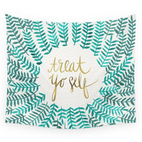 Society6 Treat Yo Self - Gold & Turquoise Wall Tapestry