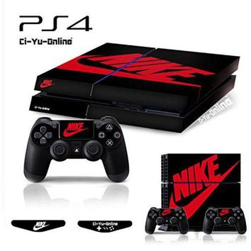 ONETOW Ci-Yu-Online VINYL SKIN [PS4] Whole Body VINYL SKIN STICKER DECAL COVER Nike Air Jordan 1 Retro Black Red Logo Shoe Box for PS4 Playstation 4 System Console and Controllers