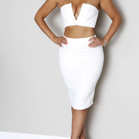 Taylor Pencil Skirt- White - Sailor and Saint - Online Clothing Boutique