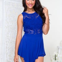 Bloom Crochet Romper - Royal Blue