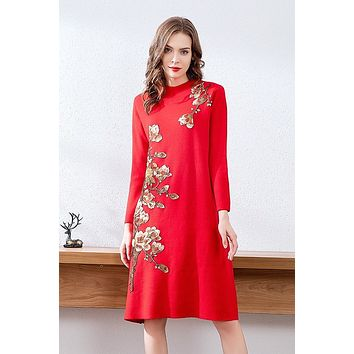 Floral Embroidered Wool Dress