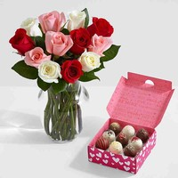 One Dozen Sweetheart Roses with 9 Valentine's Cake Truffles