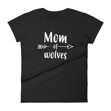 Women's Mom of Wolves t-shirt - wolf gifts for her, mom of twins, mother of twins, mom of boys