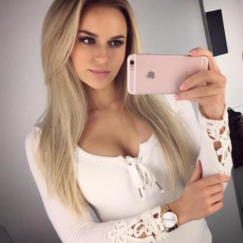 HOT sale show thin v neck Long sleeve T-shirt render bind lace sleeve blouse