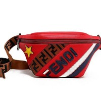 FENDI Newest Fashion Leather Purse Sport Waist Bag Single-Shoulder Bag Crossbody Red