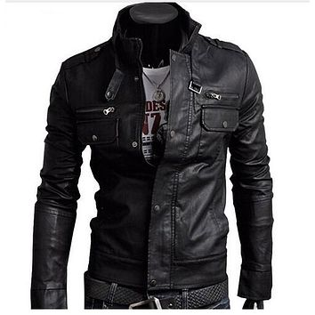2018 Classic Style Motorcycling PU Leather Fashion Jacket Men Slim Fit Male Motor Faux Leather Jacket Men Parka Asia Size