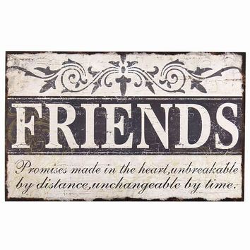 "Decorative Wood Wall Hanging Sign Plaque ""Friends"" Off White Black Home Decor"