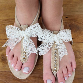 Leather Sandals - Wedding Sandals - Bridesmaid Sandals - Wedding Gift - Clear Rhinestones Sandals - Lace Bow Sandals