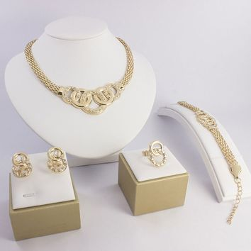 African Wedding 18K Gold Plated Jewellery Necklace Earrings Ring Bangle Set