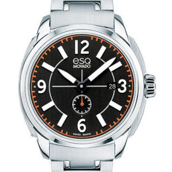 ESQ Movado Mens Excel Watch - Black Dial with Orange Accents - Stainless Steel
