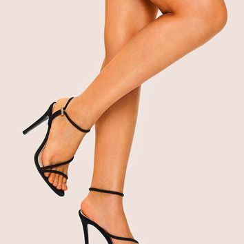 Strappy Suede Stiletto Heels