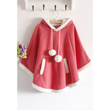 Watermelon Red Hooded Short Plush Fleece Cloak