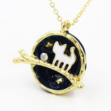 Blue Crystal And Cat Detail Galaxy Precious Pendant Necklace