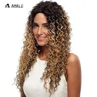 DCCKWJ7 Noble Wigs For Black Women Deep Wave Lace Front Wigs Synthetic Hair 30 Inch Ombre Color Heat Resistant Cosplay Wig Free Shipping