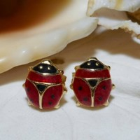 Ladybug Earrings 14k Yellow Gold Red and Black Enamel 1.34 gram Made in Italy