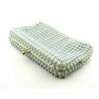 Grandee Bead Blue Bead Clutch Made In USA - Rare Color!