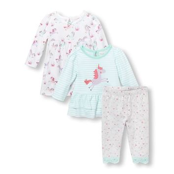 Baby Girls Unicorn Dress, Top and Pants 3-Piece Playwear Set