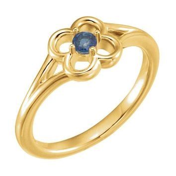 14K Yellow Gold Round Genuine Blue Sapphire Flower Youth Ring