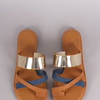 Bamboo Metallic Denim Strappy Toe Ring Flat Slip On Sandal | UrbanOG