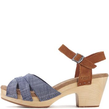 Toms For Women: Beatrix Chambray Brown Suede Clog Sandals - Beauty Ticks