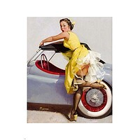 vintage 1955 CONVERTIBLE & PIN-UP GIRL poster 24X36 SEXY hot  legs LINGERIE