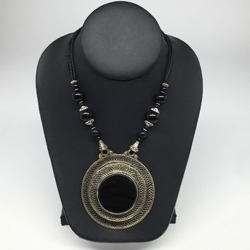 Turkmen Necklace Antique Afghan Tribal Black Onyx Pendant Beaded Necklace VS116