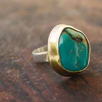 unisex silver and brass turquoise ring / boho turquoise ring / modern turquoise ring / men or women's turquoise ring