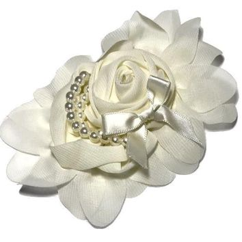 "Ivory 4.5"" X 4"" chiffon rolled rose with pearl stands"