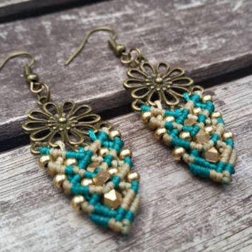 Blue and being macrame earrings