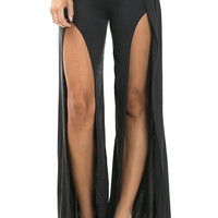 Front Slit Microsuede Pants - Black- FINAL SALE
