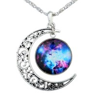 Yantu Black Purple Women's Crescent Moon Galactic Universe Cabochon Pendant Necklace Christmas Gift