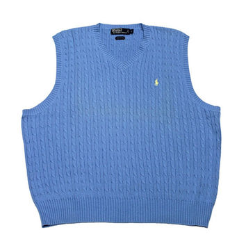 Vintage Polo by Ralph Lauren Sky Blue Cable Knit Sweater Vest Mens Size Large