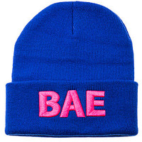 The Bae Beanie in Blue & Pink