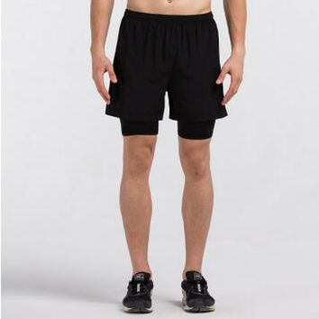 Running shorts 2 in 1 Mens Running Shorts with inside compression lycra boxer Fitness Men's Gym shorts