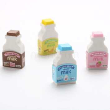 2 Pics lot 3d Cute Milk Bottle Funny Japanese Erasers Gomme Kawaii For Kids School Supplies