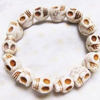 white Turquoise skull bracelet Day of the by sweethearteverybody