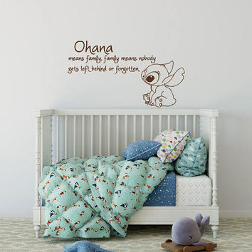Ohana Means Family Wall Decal Quote, Lilo And Stitch Wall Art, Ohana Wall Decal Nursery Kids Sayings, Nursery Quote Vinyl Decal Wall Art K85